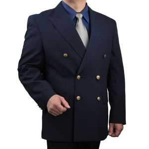 Mens Classic Fit Double-Breasted Blazer-Navy